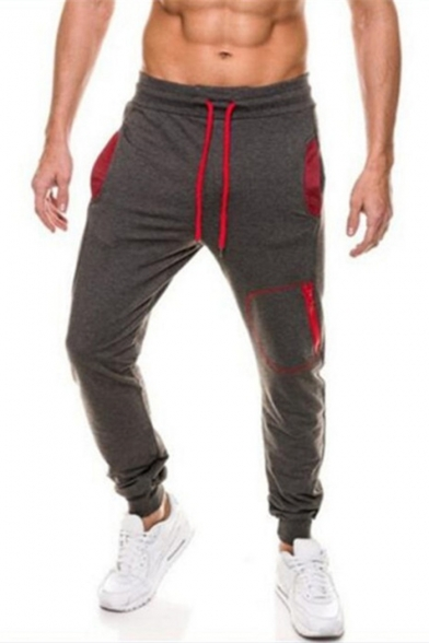 Stylish Colorblocked Pocket Patched Drawstring Waist Men's Casual Sport Sweatpants