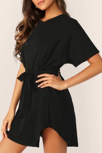 Summer Basic Simple Plain Round Neck Short Sleeve Bow-Tied Waist Mini A-Line Dress