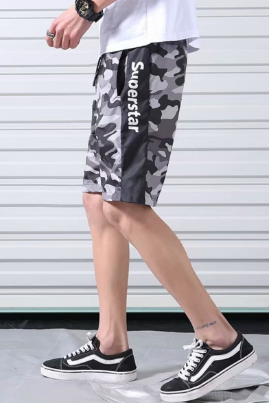 Summer Cool Fashion Camouflage Letter SUPERSTAR Printed Drawstring Waist Casual Loose Fit Athletic Shorts