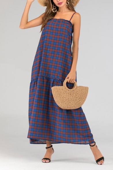 Baycheer / Summer Fancy Royal Blue Plaid Printed Maxi Beach Swing Cami Dress