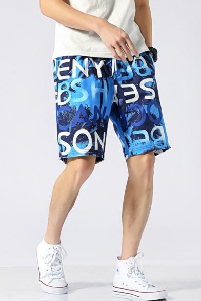 Summer Fashion Contrast Stripe Leaves Printed Drawstring Waist Quick-Dry Swim Trunks