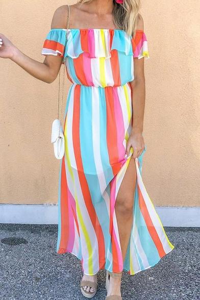 Summer Popular Fashion Rainbow Striped Printed Ruffled Off the Shoulder Split Side Maxi Bohemian Dress
