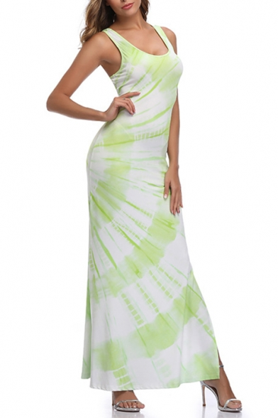 Summer Popular Light Green Scoop Neck Sleeveless Split Side Maxi Bodycon Beach Tank Dress