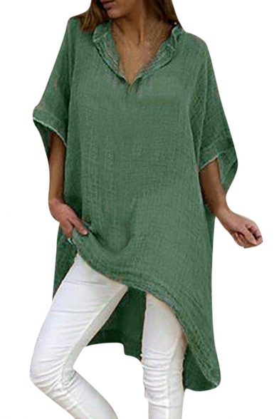 Summer Stylish Solid Color Plus Size V-Neck Batwing Sleeve Linen Longline Blouse