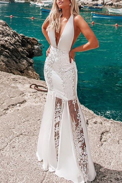 Summer Womens White Halter Plunge V Neck Lace Patch Fitted Floor Length Fishtail Dress