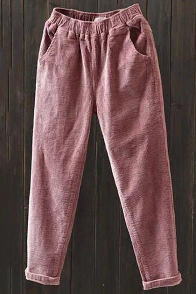 Trendy Plain Elastic Waist Rolled-Cuff Corduroy Carrot Pants for Women LM548472 фото