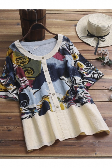 Vintage Art Painting Round Neck Half Sleeve Button Down Casual Linen Shirt Blouse