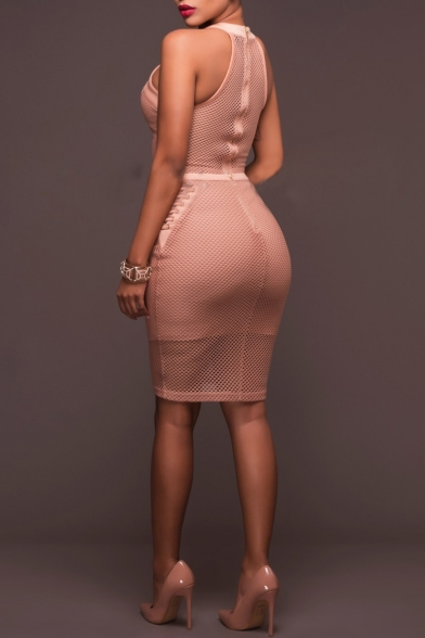 Womens New Stylish Sexy Hollow Eyelet Lace-Up Fake Two-Piece Midi Mesh Bodycon Pencil Dress