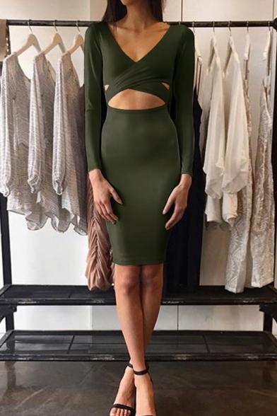 Womens Sexy Wrap V-Neck Long Sleeve Cutout Front Nightclub Mini Bodycon Dress