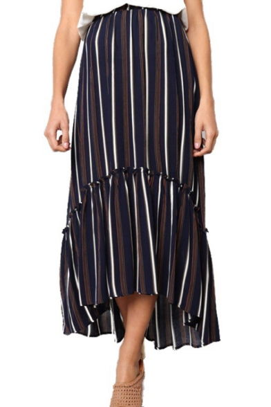 Womens Summer Trendy Navy Vertical Striped Print Maxi Pleated Skirt