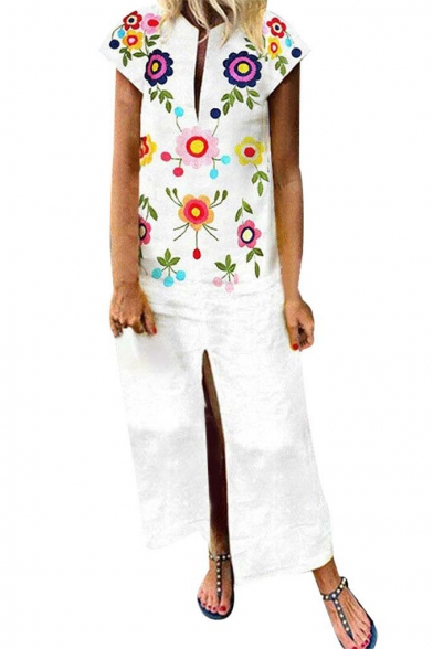 Womens Summer White Fancy Floral Embroidery Sexy Split Front Maxi Sheath Dress