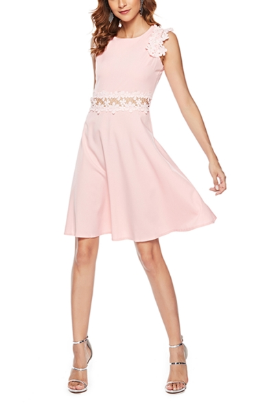 Womens Sweet Pink Chic Crochet Hem Beading Embellished Cutout Waist Round Neck Mini A-Line Dress