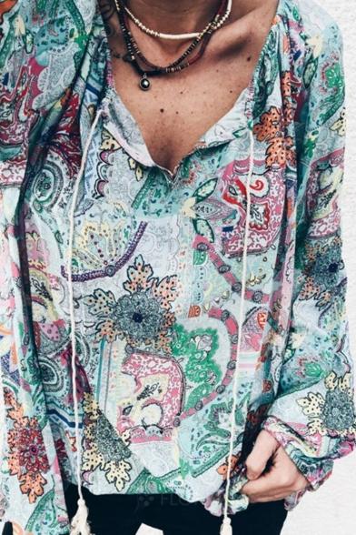 Womens Trendy Blue Tribal Floral Print V-Neck Long Sleeve Loose Blouse