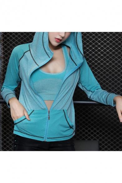 Womens Trendy Colorblock Yoga Sport Training Slim Fit Zip Up Hoodie