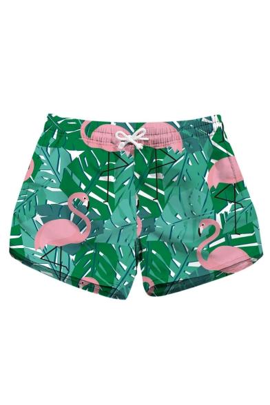 Womens Trendy Tropical Flamingo Printed Drawstring Waist Quick Dry Green Beach Shorts