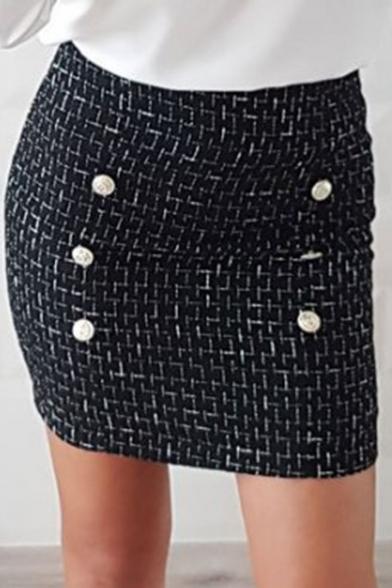 Кнопка черная горячая стильные пуховики черный чек печать шерсти смесь мини юбка для женщин