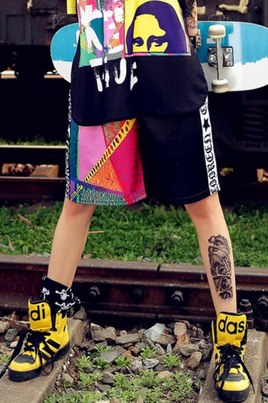 Cool Girls Street Hip Hop Style Letter Figure Print Sport Loose Straight Fit Shorts, LM548746