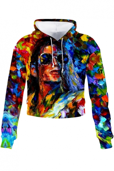 Fancy 3D Colorful Oil Painting Figure Pattern Long Sleeve Cropped Hoodie