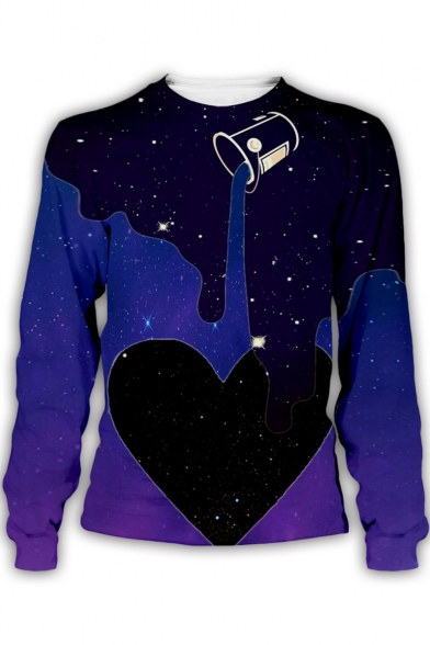 Funny Galaxy Dropped Drink 3D Pattern Round Neck Long Sleeve Pullover Sweatshirt