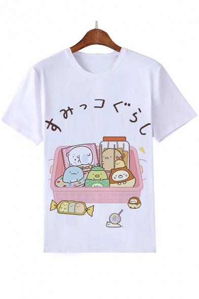 Girls Lovely Cartoon Cat Printed Round Neck Short Sleeve White Casual Tee