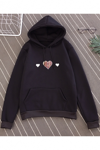 Girls Simple Sweet Heart Print Long Sleeve Loose Fit Pullover Hoodie