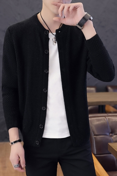 Guys Simple Solid Color Collarless Long Sleeve Button Down Fitted Knitwear Cardigan