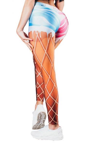 Hot Stylish Elastic Waist Colorblock Striped Printed Skinny Fit Sport Legging Pants