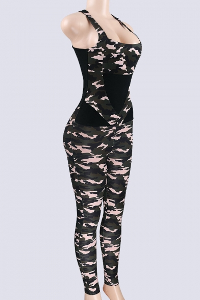 Hot Trendy Womens Sleeveless Straps Back Patch Playsuit Camo Jumpsuits