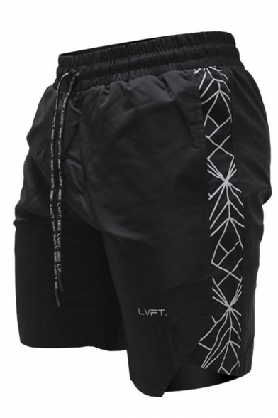 Men's Fashion Letter Printed Drawstring Waist Quick Drying Casual Athletic Shorts