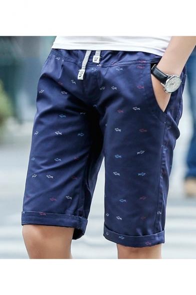 Men's Fashion Sardine All-over Printed Drawstring Waist Casual Shorts