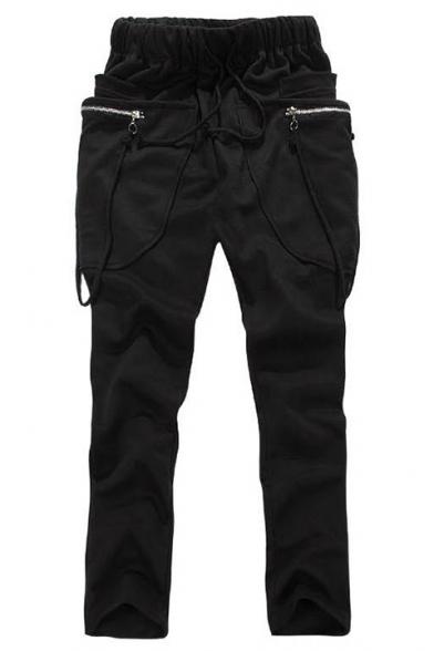 Men's Fashion Zipper Ribbon Embellishment Drop-Crotch Drawstring Waist Plain Cotton Joggers Harem Pants