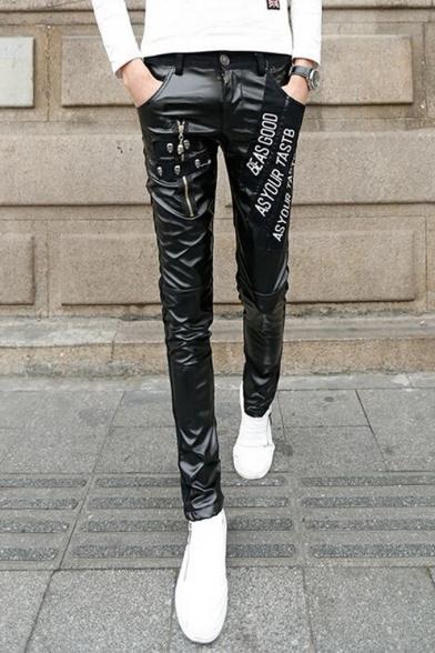 Men's New Fashion Letter Ribbon Rivet Zipper Embellished Black Slim Leather Pants