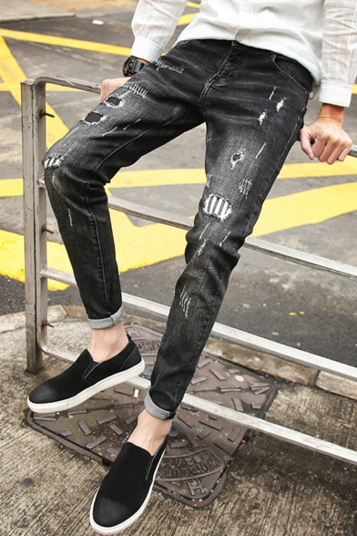 Proprietà frenare drifting  Men's Stylish Washed-Denim Black Patched Ripped Jeans - Beautifulhalo.com