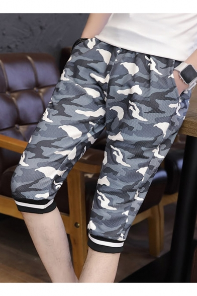 Men's Summer Fashion Cool Camouflage Pattern Striped Cuffs Casual Sweat Shorts