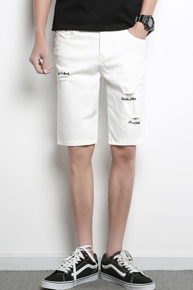 Men's Summer Fashion Letter Printed Frayed Ripped Casual Denim Shorts