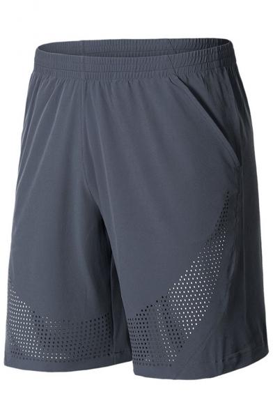 Men's Summer New Fashion Mesh Holes Simple Plain Elastic Waist Casual Loose Sports Basketball Shorts