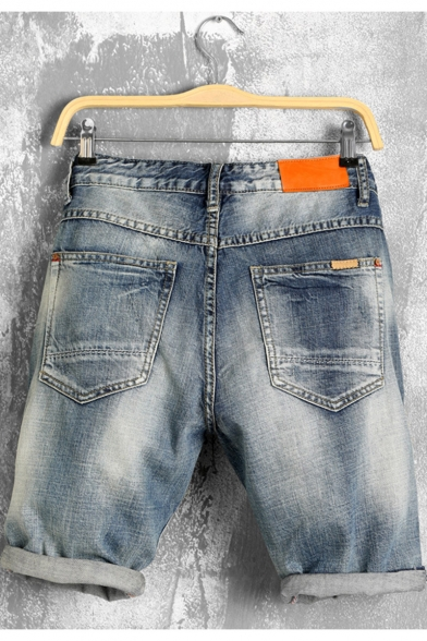 Men's Summer Stylish Vintage Washed Rolled Cuffs Ripped Detail Blue Zip-fly Denim Shorts