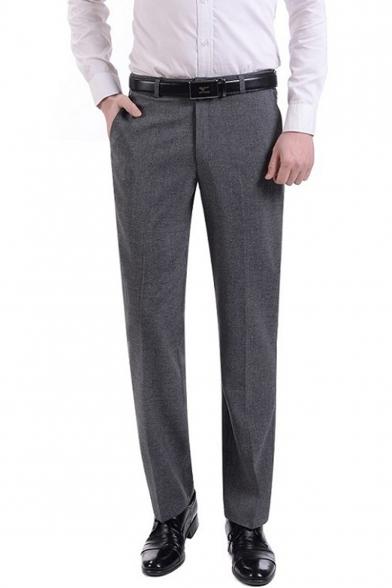 Mens Fashion Simple Plain Straight Tailored Suit Pants Business Dress Pants
