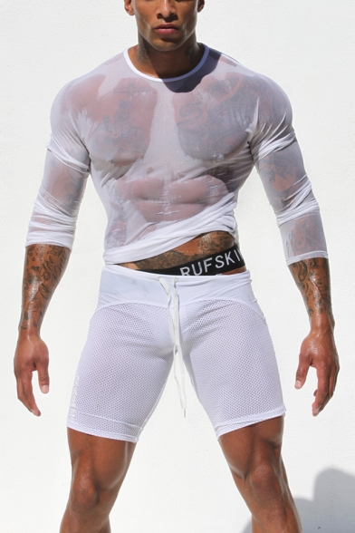 Mens Sexy Round Neck Long Sleeve Transparent Mesh Slim Fitted T-Shirt