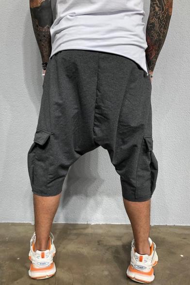 Mens Simple Fashion Drop-Crotch Drawstring Waist Plain Cropped Harem Pants