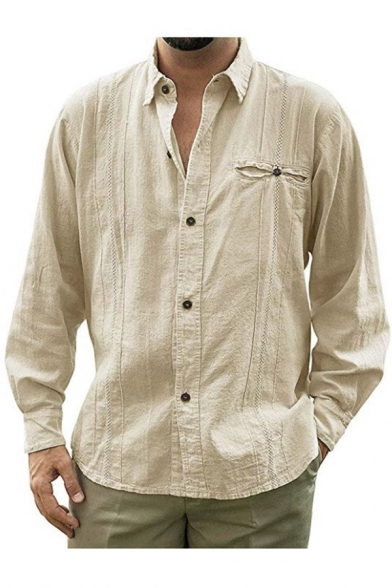 Mens Simple Plain Trendy Casual Loose Long Sleeve Button Down Linen Shirt