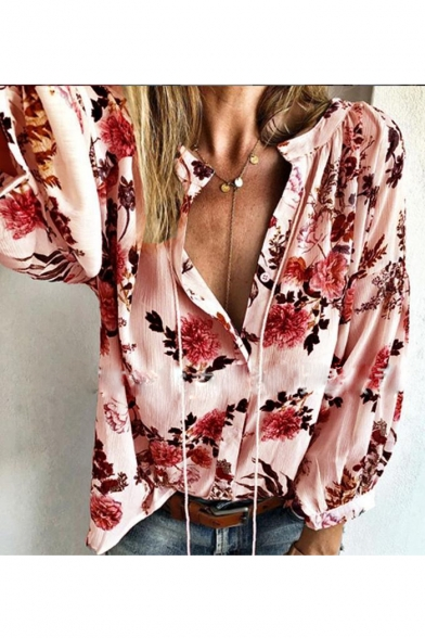 New Fashion Womens Floral Print Stand Collar Button Front Long Sleeve Casual Loose Shirt