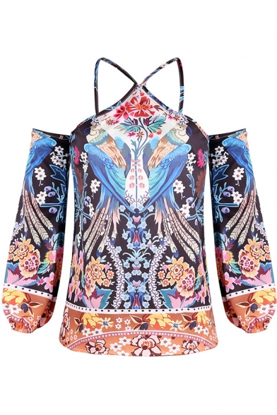 Popular Womens Blue Tribal Pattern Sexy Cold Shoulder Long Sleeve Blouse