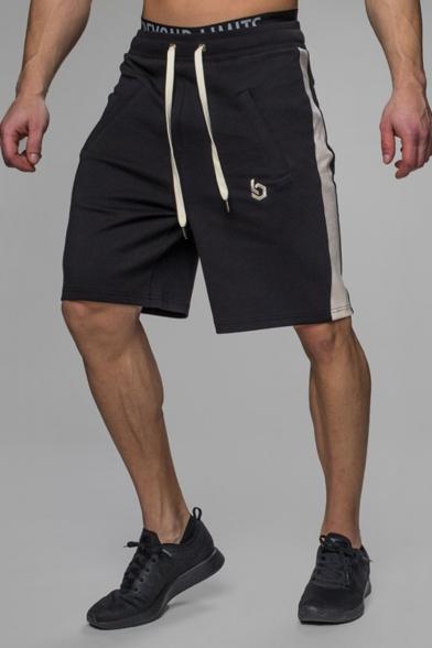 Simple Fashion Logo Print Striped Side Drawstring Waist Training Shorts Casual Loose Sweat Shorts for Men