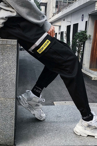 Street Style New Fashion Letter Patch Flap Pocket Elastic Cuffs Drawstring Waist Cotton Casual Cargo Pants