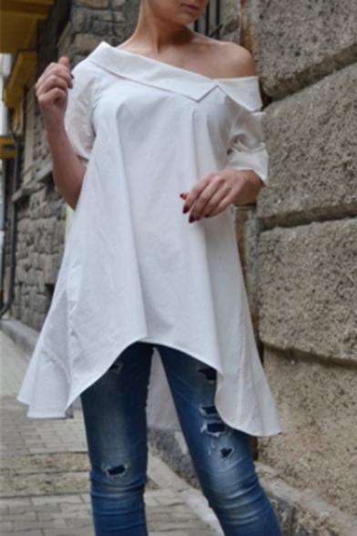 Stylish Oblique Shoulder Simple Solid Color Longline Linen Asymmetrical Blouse Top