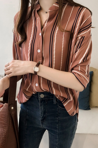 Summer Chic Vertical Striped Printed Three-Quarter Sleeve Loose Casual Shirt for Women