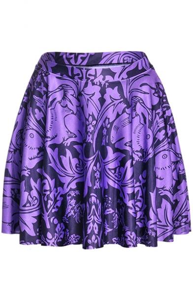 Summer Hot Fashion Elastic Waist Rabbit Floral Print Pleated Mini Purple Skater Skirt for Women