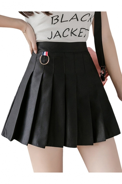 Summer Hot Fashion Sweet Plain High Waist O-Rings Embellished Pleated A-Line Mini Skirt
