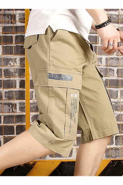 Summer Trendy Letter Print Flap Pocket Side Casual Cotton Cargo Shorts for Men